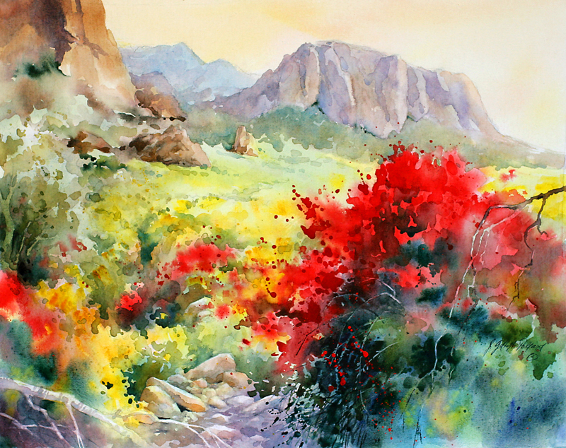 """Chuparosa at Lost Dutchman"" Watercolor on Fredrix Watercolor Canvas ""16 x 20"""
