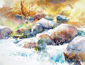 """Watercolor Unleashed! Paint a Mountain Stream"" - Zoom Class"
